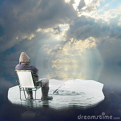 Ice fisherman floating on iceberg.