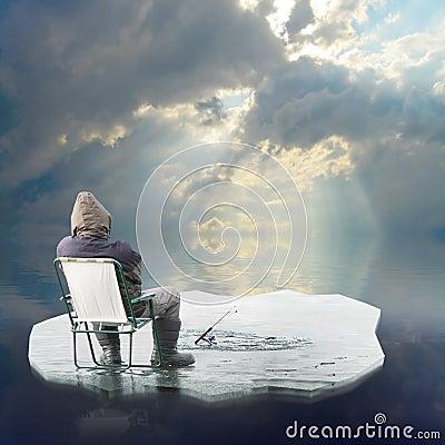 Free Ice Fisherman Floating On Iceberg. Stock Images - 23629404