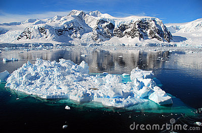 Ice floe in antarctic landscape
