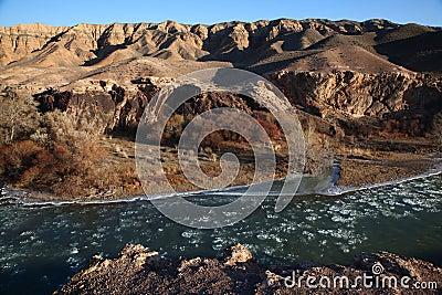 Ice floe in desert river