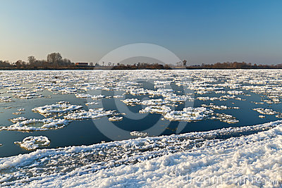 Ice floe flowing on Wisla river