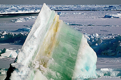 Ice floe with layers