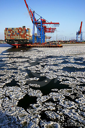 Ice Floes in Hamburg s Container Terminal Editorial Photography