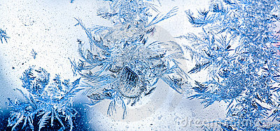 Ice flowers on window