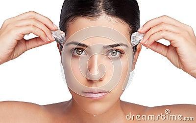 Ice on Girl Face