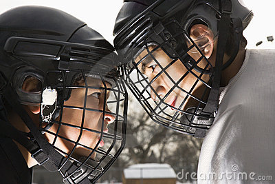 Ice hockey confrontation.