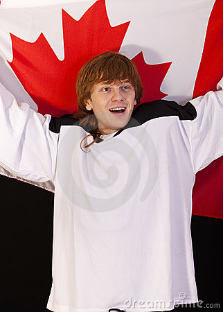 Ice hockey fan with canadian flag