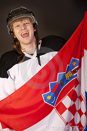 Ice hockey fan with croatian flag
