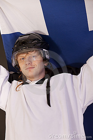 Ice hockey fan with finnish flag