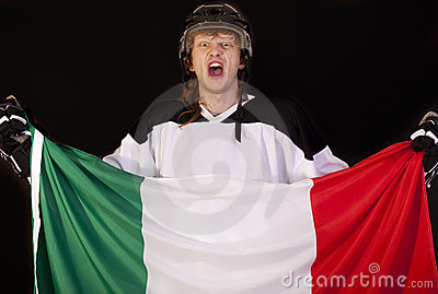 Ice hockey fan with italian flag