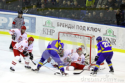 Ice-hockey game Ukraine vs Poland Editorial Photography