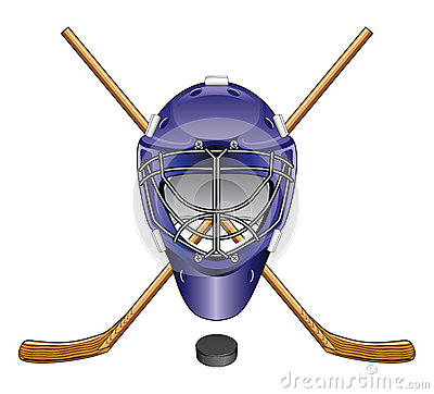 Ice Hockey Goalie Mask Sticks and Puck