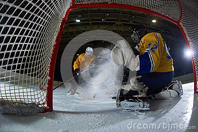 Ice hockey goalkeeper Stock Photo