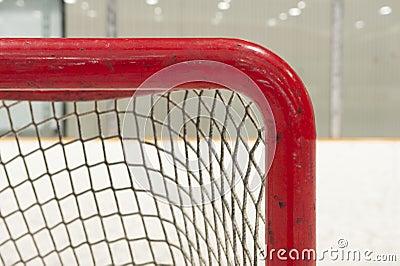 Ice hockey net closeup