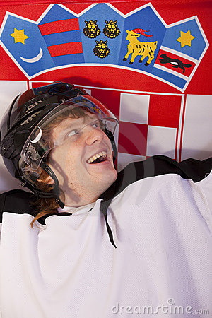 Ice hockey player with croatian flag