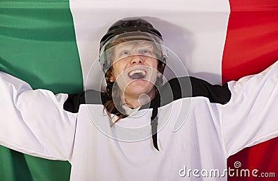 Ice hockey player with italian flag