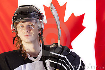 Ice hockey player over canadian flag