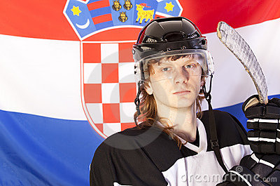 Ice hockey player over croatian flag