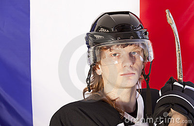 Ice hockey player over france flag