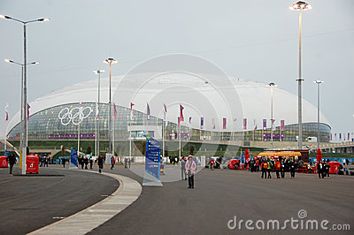 Ice hockey stadium at XXII Winter Olympic Games Editorial Stock Photo