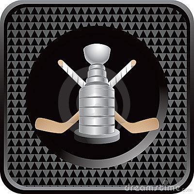 Ice hockey sticks and trophy on black web icon