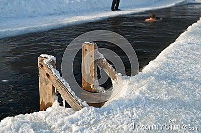 Ice hole winter swimming.