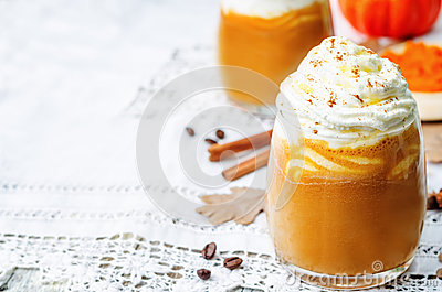 Ice Honey Pumpkin Spice Latte With Whipped Cream Stock Photo - Image ...