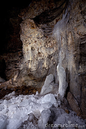 Ice in the karst cave Pobeda
