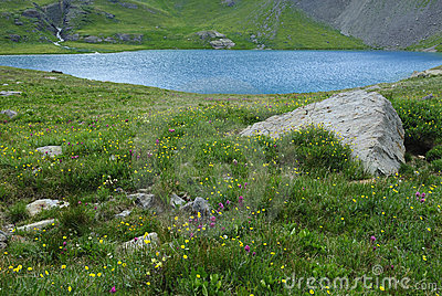 Ice Lake in San Juan Mountains in Colorado