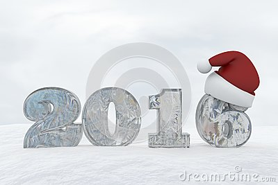 Ice Number 2016 with christmas hat 3d rendering illustration