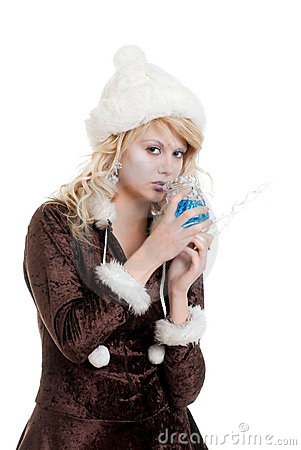 Ice princess holding an icicle wand drinking