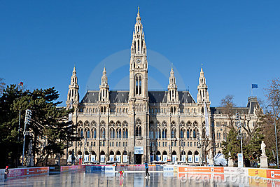 Ice rink in front of vienna city hall Editorial Stock Image