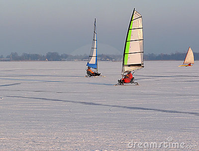 Ice sailing in winter