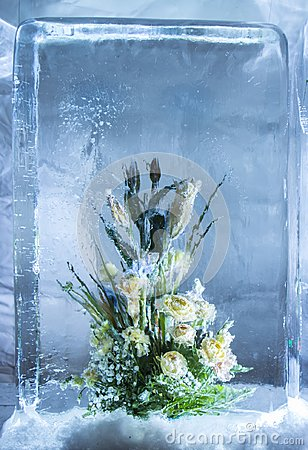 Free Ice Sculpture Of Flowers In A Frozen Block Of Ice Stock Image - 107633311