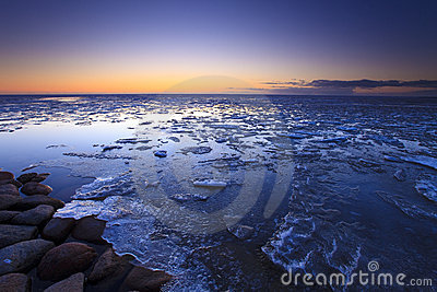 Ice shelves at sunset