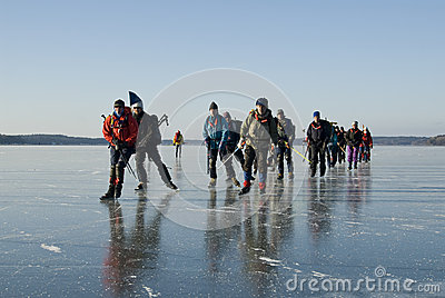Ice skaters Sweden Editorial Stock Image