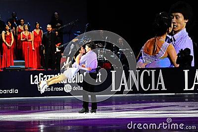 Ice skaters Qing Pang and Jian Tong Editorial Stock Photo