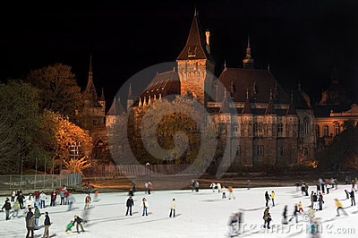 Ice skating in Budapest