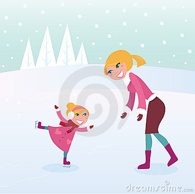 Free Ice Skating Girl With Her Mother On Sport Stadium Royalty Free Stock Photos - 16387158