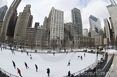 Ice Skating in Millennium Park Editorial Stock Photo