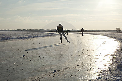 Ice skating on natural ice in the Netherlands Editorial Photo