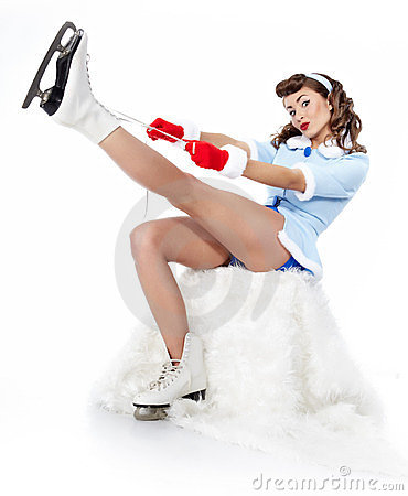Ice Skating pin-up Woman