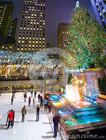 Ice Skating Rockefeller Center Editorial Stock Photo
