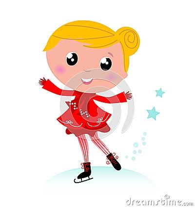 Ice skating winter little girl. Red.