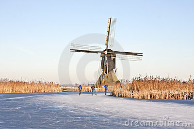Ice skating in winter in the Netherlands