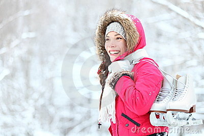 Ice skating winter woman in snow