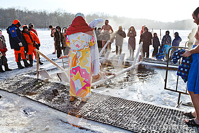 Ice swimming in Epiphany Day Editorial Image