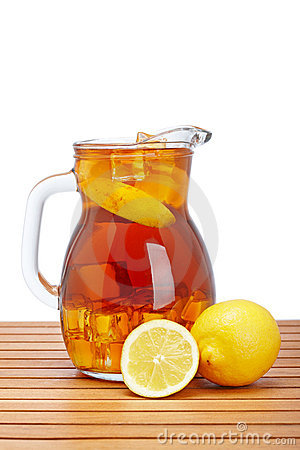 Ice tea with lemon pitcher