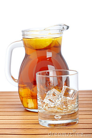 Ice tea with lemon pitcher