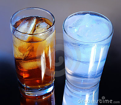 Royalty Free Stock Photo: Ice tea & water